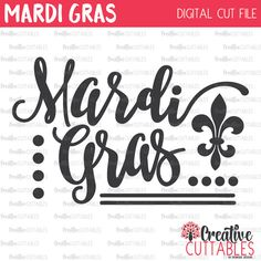 Mardi Gras Word Art SVG Digital Cut File by CreativeCuttablesCo