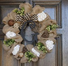 Burlap wreath, Spring  wreath, Monogram wreath,Year round wreath
