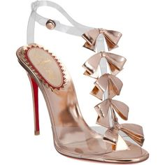 Christian Louboutin Bow Bow ($1,195) ❤ liked on Polyvore featuring shoes, sandals, heels, louboutin, christian louboutin, open toe sandals, t strap high heel sandals, bow sandals, ankle strap sandals and christian louboutin sandals