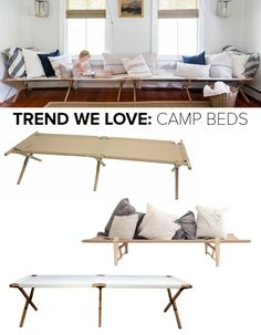 Military-inspired, canvas-and-wood folding beds find a place indoors.