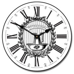 Powder Room White Wall Clock 10 60 Whisper Quiet nonticking ** Learn more by visiting the image link. Wall Clock Black And White, White Wall Clocks, Best Wall Clocks, Unique Wall Clocks, Bathroom Wall Clocks, Grandfather Clocks For Sale, Office Wall Clock, French Clock, Living Room Clocks