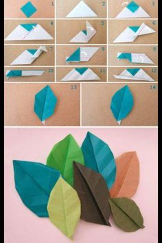 Origami leaf tutorial :DHow to make paper craft origami leaves step by step DIY tutorial instructions…Hoja en origami --- DIY: origami leaf - these would be an awesome embellishment on a page!From easy to advanced paper flowers instructions and tut Origami Diy, Origami And Kirigami, Paper Crafts Origami, Origami Tutorial, Diy Paper, Paper Crafting, Diy Tutorial, Origami Wedding, Origami Instructions