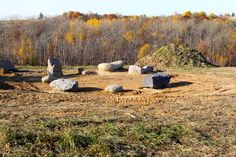 The Stargazer Circle - a small stone circle dedicated to the night. It sits just southwest of the Kinstone Circle. This picture taken just after completion in October 2011.