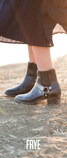 Perfect black ankle booties. The Dara Harness Chelsea form The Frye Company.