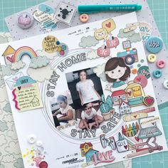 Layout com papéis Goodies Stay Safe, Dan, Goodies, Scrapbooking, Layout, Instagram, Sweet Like Candy, Treats, Gummi Candy