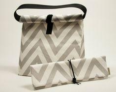 Juego de 2 con asas de la bolsa de acabado impermeable Bolsas Ropa Juguetes bolsa gris Z3if0Jk