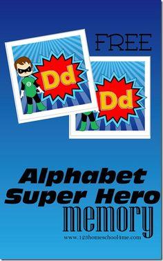 FREE Super Hero Alphabet Memory