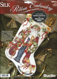 Bucilla Silk Ribbon Embroidery, Old World Santa Counted Cross Stitch Christmas Stocking