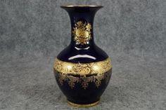 Imperia Limoges Cobalt Blue Porcelain 9 Tall Vase With 22k Gold Trim