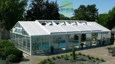 Residential swimming pool enclosure, gable shaped, retracting roof