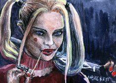 ACEO TW APR Original Painting Harley Quinn joker portrait comic book female #Impressionism