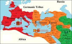 What might have happened if the Western Roman Empire did not fall to the barbarian tribes and if the Arab Caliphate not expand into the West. Byzantine Empire Map, Roman Empire Map, Roman History, European History, Ancient Rome, Ancient History, Germanic Tribes, World History Lessons, Fantasy Map