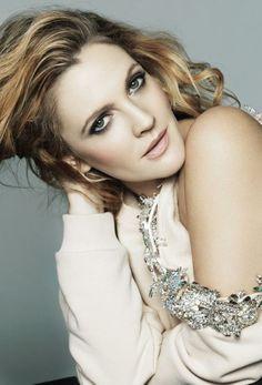 rhinestone - shoulder sweater -- Drew Barrymore - Marie Claire