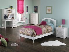 Windsor White Bedroom Set (Bed with Open Footrail, Nightstand, Desk, Hutch and Chest) - Atlantic Furniture