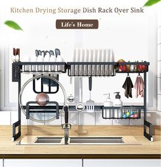 New Stainless Steel Kitchen Sink Rack Bowl Plate Dish Rack Drainer Tableware Sponge Sink Storage Shelf Kitchen Organizer Material: 304 stainless steel Load-bearing: !
