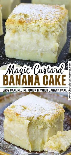 If you're looking for a cake recipe with just a few ingredients, try this Easy Banana Magic Cake! Custard cake with mashed banana comes together in no time! desserts with few ingredients Easy Banana Magic Cake Banana Dessert Recipes, Brownie Desserts, Köstliche Desserts, Easy Cake Recipes, Delicious Desserts, Easy Banana Cake Recipe, Health Desserts, Banana Custard Recipe, Recipes For Bananas