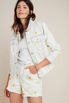 Daisy Ultra High-Rise Embroidered Denim Shorts by BLANKNYC in Blue Size: Women's at Anthropologie – Typical Miracle Short Outfits, Cute Outfits, Emo Outfits, Summer Outfits, Casual Shorts Outfit, Daisy Shorts, Emo Dresses, Party Dresses, Fashion Dresses