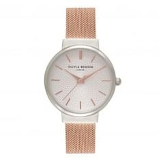 Olivia Burton The Hackney Silver & Rose Gold Mesh Watch