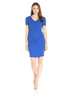 NYDJ Womens Rosie Short Sleeve Sheath Dress with Fit Solution Lapis 12 >>> You can get more details by clicking on the image.