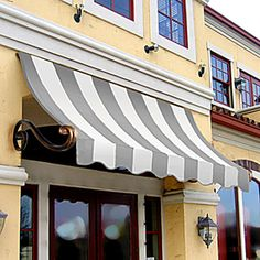see if have blk/ white? Charleston Window Awning in. H x 12 in. D) in Gray/White at The Home Depot Awning Over Door, Window Awnings, Diy Awning, Shop Awning, Fabric Awning, Canvas Awnings, Pergola Shade, Stores, Windows And Doors