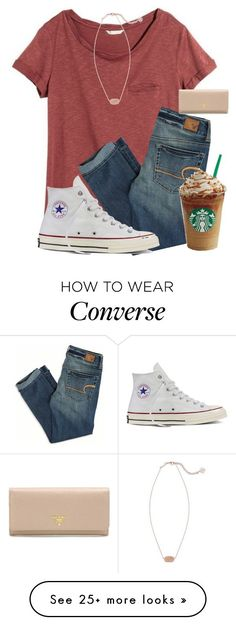 """Not my preppiest but eh it's Monday 🙃"" by mmprep on Polyvore featuring H&M, American Eagle Outfitters, Kendra Scott, Converse and Prada"