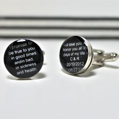 Black and White Custom Wedding Vow Cufflinks by dlkdesigns