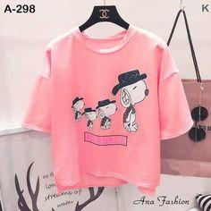 Áo thun nữ dễ thương - Áo thun nữ xẻ tà mẫu 4 con chó màu hồng