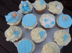 Baby Boy Christening Cupcakes Cake Decorating Community Cakes We Pretty Cupcakes, Beautiful Cupcakes, Pink Cupcakes, Christening Cupcakes Boy, Baby Boy Christening, Cupcake Frosting Recipes, Cupcake Cakes, Cupcake Boutique, Cupcake Wraps