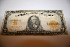 1922 Gold Seal Certificate 10 Dollar Paper Note by pasttimejewelry, $185.00