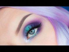 Enchanted Forest Smokey Eye Makeup Tutorial - YouTube #EyeMakeupGlitter Bright Eye Makeup, Cat Eye Makeup, Colorful Eye Makeup, Fairy Makeup, Mermaid Makeup, Makeup For Brown Eyes, Makeup Art, Blue Smokey Eye, Exotic Makeup