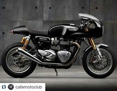 #Repost @cafemotoclub ・・・ Here is our version of Black Friday | The all new liquid cooled Triumph Thruxton #triumph #caferacer