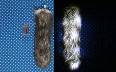 16 inch tail with white fur with gray tips. This tail is made out of our softest fur. Matching ears can be found here https://www.etsy.com/listing/492877503/gray-and-white-costume-animal-wolf-fox  This tail is a perfect accessory for raves, parties, late-night events, Halloween, and more! Youll easily make yourself seen with the bright LED lights.  The battery pack has an on/off switch and is slim enough to put in your back pocket.  Choose from regular size or mini size. Regular size is…