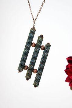 Items similar to Geometric Jewelry Beaded Necklace Peyote Stitch Beaded Jewelry Bead Tube Jewelry Midnight Blue on Etsy - DIY Schmuck Diy Jewelry, Beaded Jewelry, Geometric Jewelry, Geometric Necklace, Diy Schmuck, Jewelry Making Tutorials, Metal Beads, Jewelry Patterns, How To Make Beads