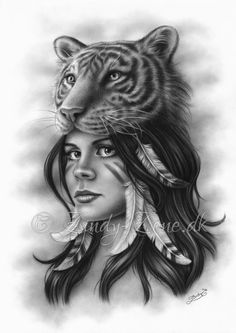 Tiger and Girl Spiritual Drawing by Zindy www.zindy-zone.dk