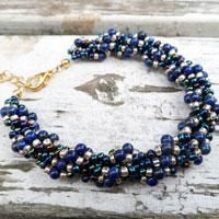 How to Make a Lapis and Gold Spiral Rope Chain Bracelet
