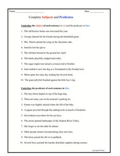 Good Grammar, English Grammar, Subject Predicate Activities, Teacher Pay Teachers, Worksheets, Pdf, Student, Sleeves