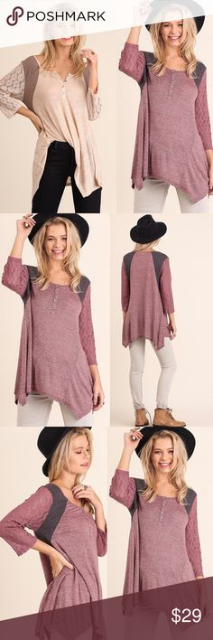 ☀️NEW☀️ Soft Lace Sleeves Top WINE COLOR ONLY! Trapeze hemline. Button collar. Cotton blend. As with all merchandise, seller not responsible for fit nor comfort. Brand new boutique retail w/o tag. No trades, no off App transactions.  ❗️PRICE IS FIRM UNLESS BUNDLED❗️ Leoninus Tops