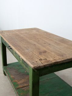 vintage work table / rustic painted wood table by 86home on Etsy