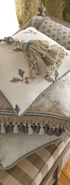 """Stroheim introduces a new collection from Charles Faudree – fabrics, trimmings and wallcoverings to complete a timeless interior. Charles' signature French country design style and philosophy of """"m… French Country Bedrooms, French Country House, French Decor, French Country Decorating, Interior Design Boards, Needlepoint Pillows, Soft Furnishings, Accent Decor, Decorative Pillows"""