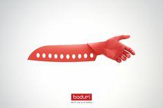 あなたの手を絶対に放さない包丁!? すべらないことを訴求したプリント広告  |  AdGang