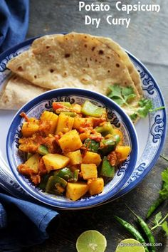 Potato capsicum dry curry - Capsicum flavors excellently match with that of potato and together they make a lip-smacking side dish.