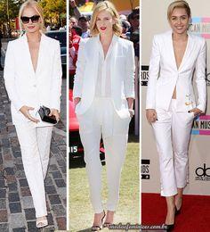 Ternos brancos femininos inspiram o look! Margot-Robitt, Charlize Theron e Miley Cirus