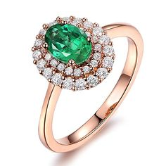 Fashion Unique Natural Emerald Gemstone with Diamond Solid Rose Gold for Women Engagement Wedding Promise Band Set * Engagement Rings And Wedding Bands Unique Promise Rings, Promise Band, Promise Rings For Her, Celtic Wedding Rings, Wedding Bands, Expensive Rings, Wedding Promises, Gold Necklace Simple, Emerald Gemstone