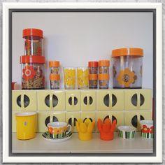 Yellow and orange in my kitchen. Panco, Erik Kold, Figgjo, Holmegaard and Royal Krona