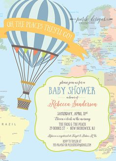 Custom hot air balloon baby shower printable invitation by hwtm custom hot air balloon baby shower printable invitation by hwtm airplane travel hot air balloon party pinterest air balloon hot air balloons and filmwisefo