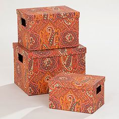 Rust Paisley Rialto Box Collection | World Market - for our favorite bar recipes!