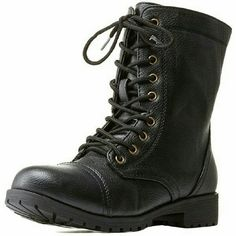 Lace-up Combat Boots Never used. Still in original box. Charlotte Russe Shoes Combat & Moto Boots