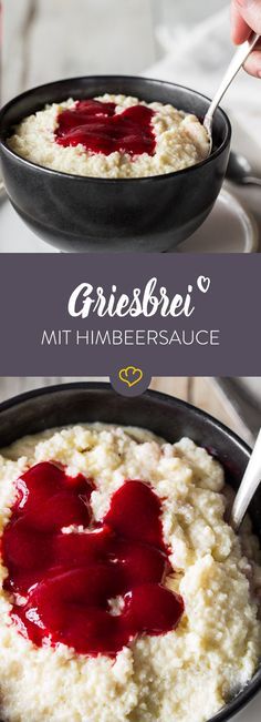 Love in the stomach: loose semolina pudding with raspberry sauce- Liebe im Magen: lockerer Grießbrei mit Himbeersauce Semolina is sticky mush? We& show you how to make your porridge vanillig, airy and easy – in less than 15 minutes! Vegan Breakfast Recipes, Vegan Recipes, Snack Recipes, Dessert Recipes, Snacks, Healthy Smoothies, Smoothie Recipes, Semolina Pudding, Raspberry Sauce