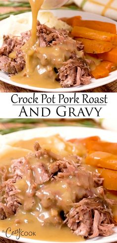 This Crock Pot Pork Roast is an easy dinner idea that's perfect for busy weeknights. PLUS, it makes plenty of delicious gravy! This Crock Pot Pork Roast is an easy dinner idea that's perfect for busy weeknights. PLUS, it makes plenty of delicious gravy! Crockpot Dishes, Crock Pot Slow Cooker, Crock Pot Cooking, Pork Dishes, Slow Cooker Recipes, Crockpot Recipes, Healthy Recipes, Crock Pot Pork, Crock Pot Dinners