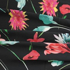 Sew Over It Online Fabric Shop - Flower Dash Bright - Crepe Sew Over It, Fabric Shop, Black Backgrounds, Screens, Monitor, Kimono, Colours, Bright, Sewing